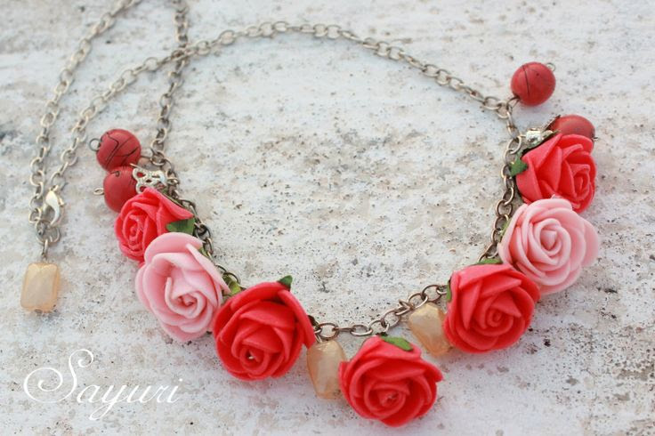 Foam Roses Charm Necklace ~ Jewels of Sayuri