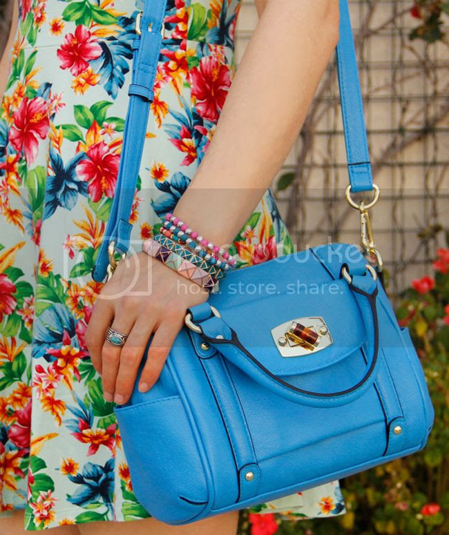 Merona mini satchel with Forever 21 tropical print dress