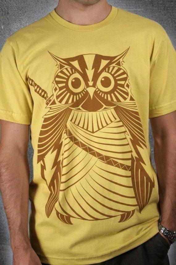 Samurai Owl - Organic Cotton Men/Unisex Tee, printed with ECO ink on dijon