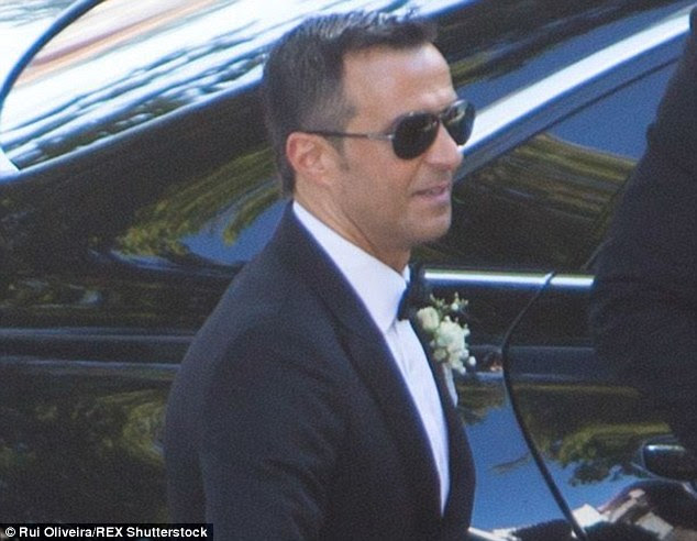 Football super agent Jorge Mendes is all smiles as he arrives at his wedding in Portugal over the weekend