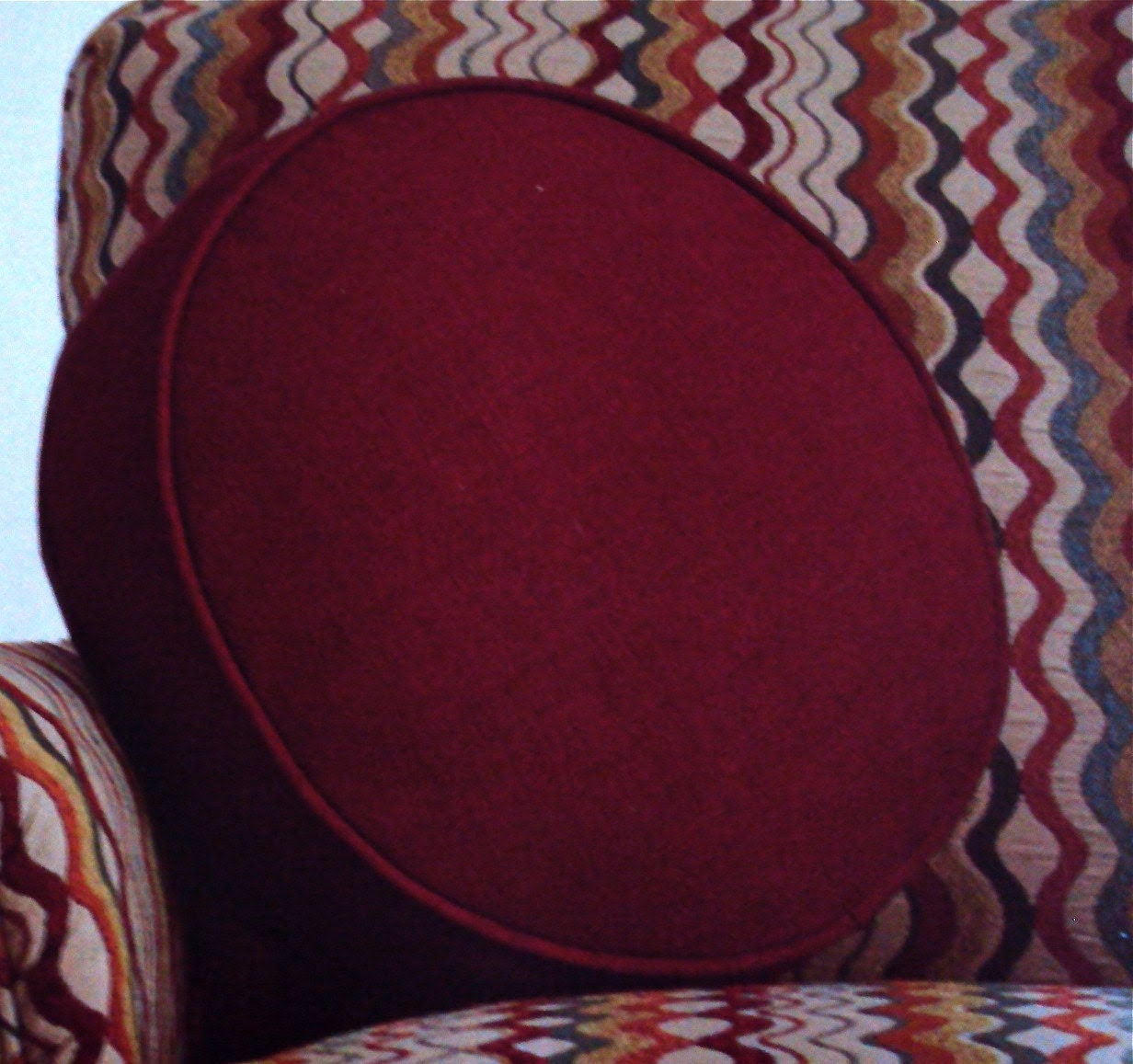 Round Pillow or Cushion/Floor Pillow In Deep Red Fabric by idari