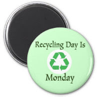 Recycling Day Monday Reminder Magnet