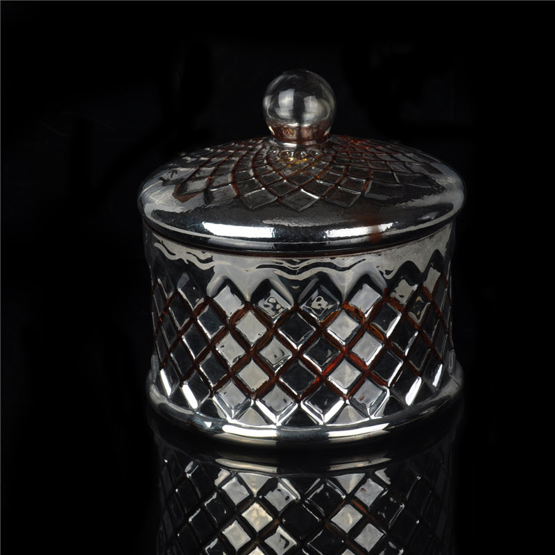 Glass candle jar with lid