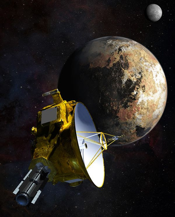 An artist's concept of NASA's New Horizons spacecraft traveling past the dwarf planet Pluto and its largest moon, Charon.