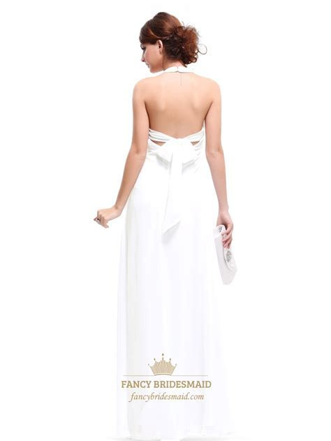 White Halter Top Chiffon Empire Waist Bridesmaid Dresses