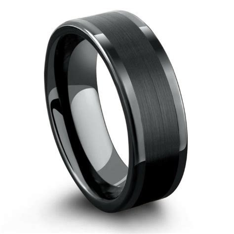 Black Tungsten Ring with a Brushed Pipe Design   Northern