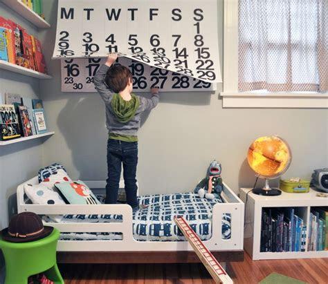 bedroom simple boys toddler room  floating storage