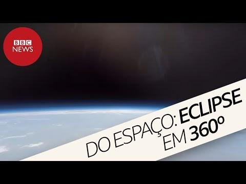 Eclipse solar total visto do espaço em 360 graus