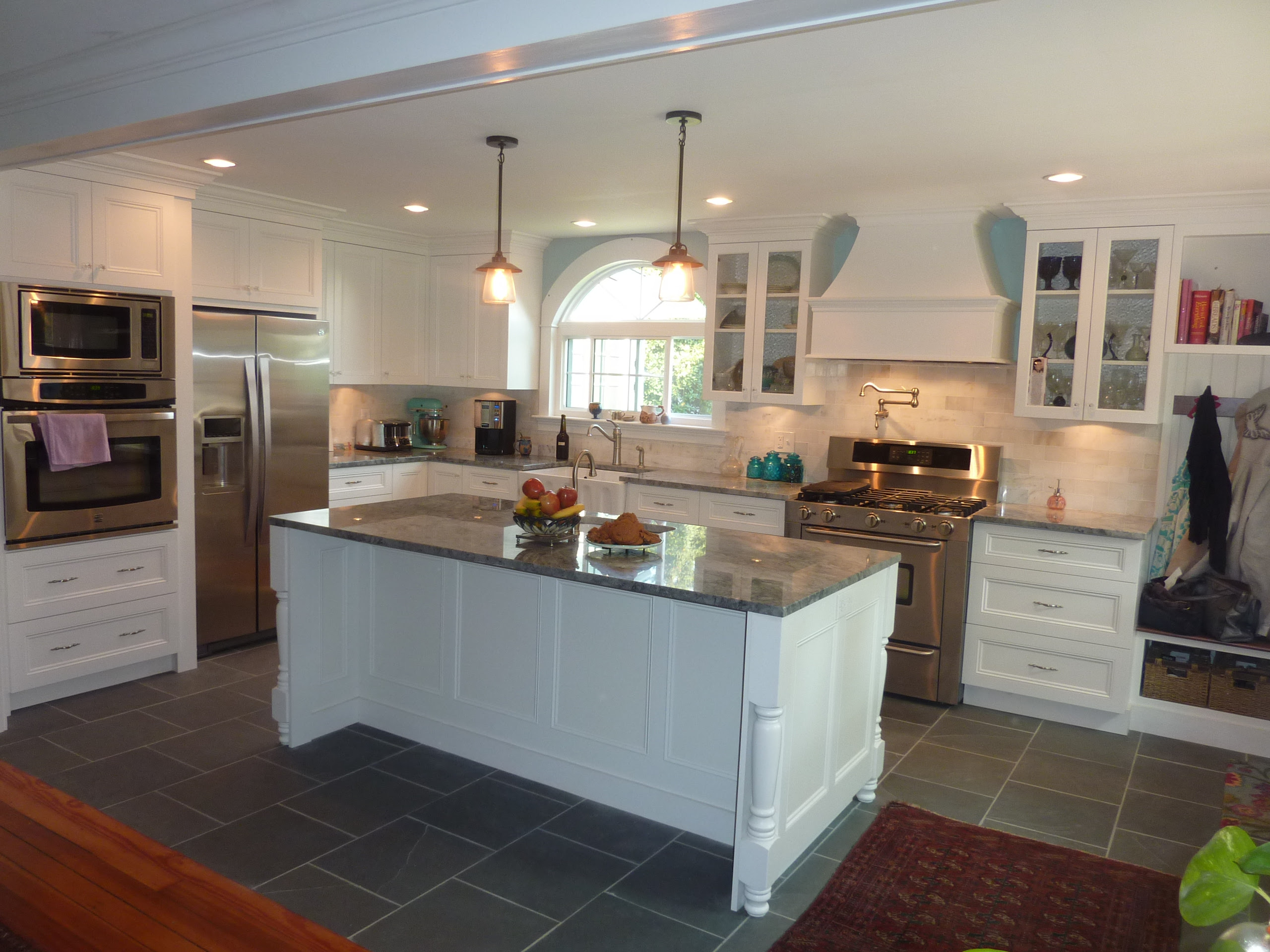 White Kitchens with Slate Floors