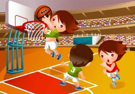 Image result for cartoon images of children playing basketball