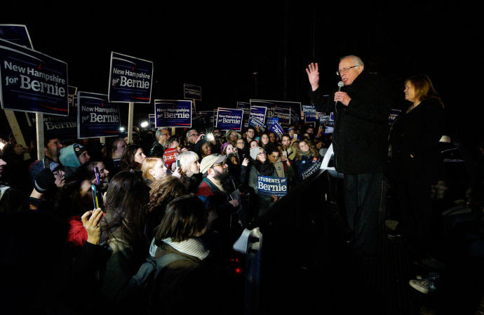 Bernie Sanders addressed supporters in New Hampshire after flying overnight from Iowa, where the Democratic caucuses ended in a virtual tie between him and Hillary Clinton.