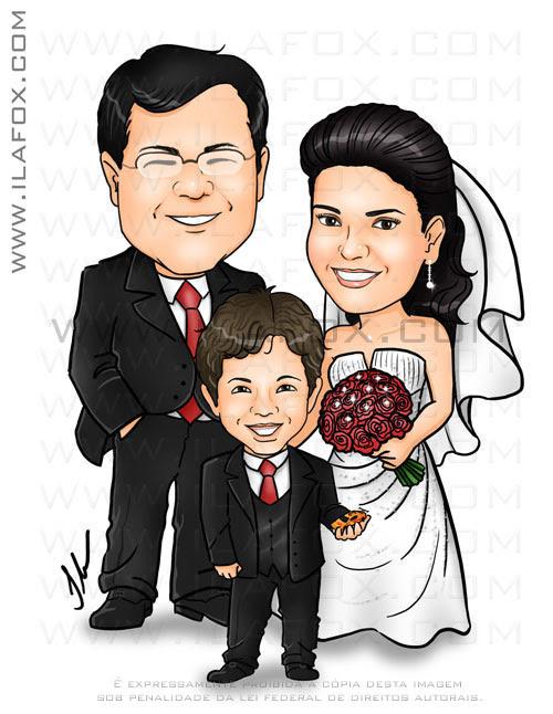 caricatura colorida, casal, noivos com filhos, noivinhos Ada e Eduardo,caricatura para casamento by ila fox