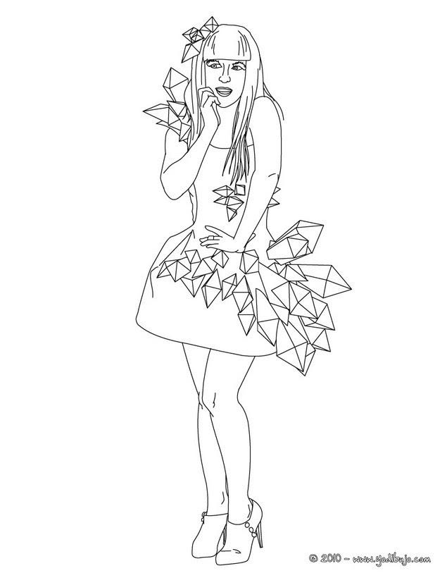 Dibujos Para Colorear Lady Gaga En Vestido De Noche Eshellokidscom