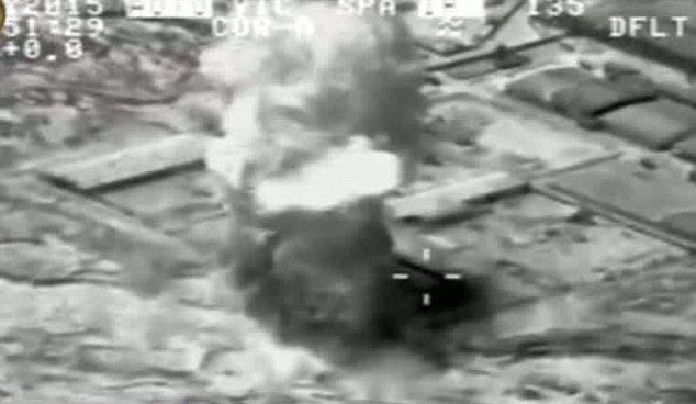 Bombing run: The crushing defeat sent Iraqi forces fleeing in a major loss of territory just 60 miles from Baghdad despite the support of U.S.-led airstrikes (seen above) targeting the extremists