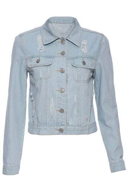 distressed lightblue cropped denim jacket