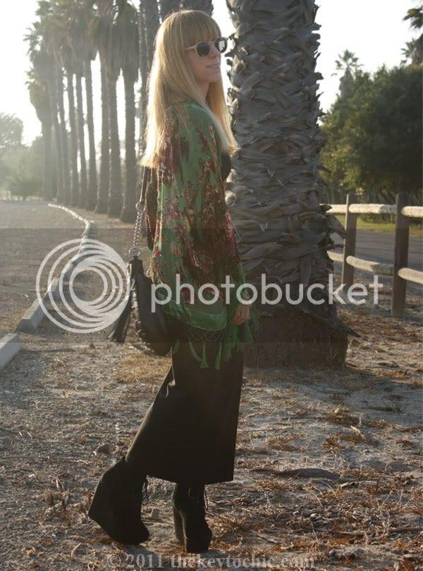 beaded fringe kimono, H&M maxi dress, Topshop Amie wedges, California fashion blog