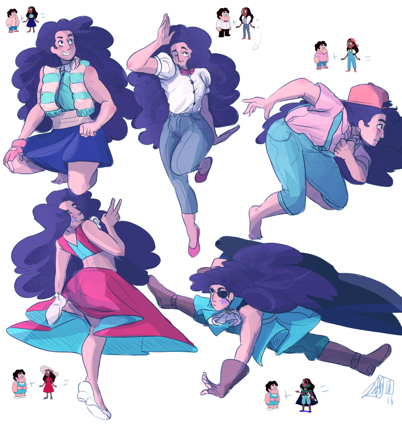 Some Stevonnie requests for @l-a-l-o-u's Stevonnie meme I did at my stream haha, these were really fun to do!