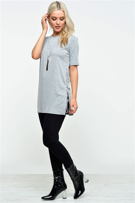 karlie lace  side tunic top  grey