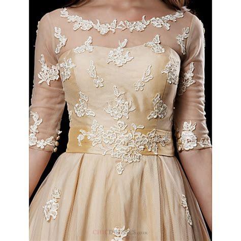A line Petite / Plus Sizes Wedding Dress   Champagne Knee