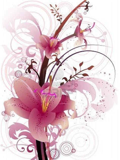stargazer lily wedding invitation clip art   Pretty things