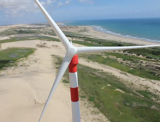Usina eólica em Trairi, no Ceará (Foto: Abeeolica/Divulgação)
