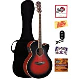 Yamaha CPX700 Cutaway Acoustic-Electric Guitar Bundle with Gig Bag, Tuner, Instructional DVD, Strings, Pick Card...