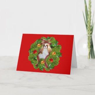 Cavalier King Charles Spaniel Christmas CardWreath
