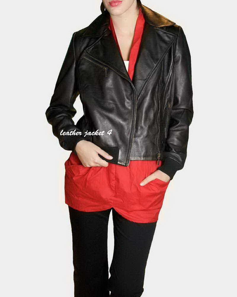 women moto leather jacket