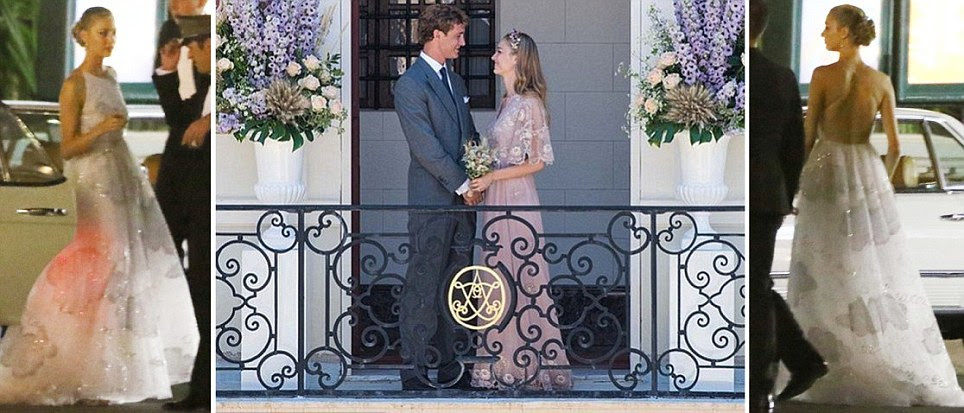 Heiress Beatrice Borromeo wears pink Valentino to wed Monaco royal Pierre Casiraghi