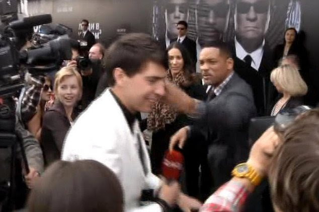 Angry: In 2012, Hollywood's nice guy Will Smith angrily slapped Sediuk on the face after he tried to kiss him on the lips on the red carpet at the Men In Black 3 premiere