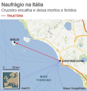 naufrágio italia 14/1/2012 (Foto: Arte G1)