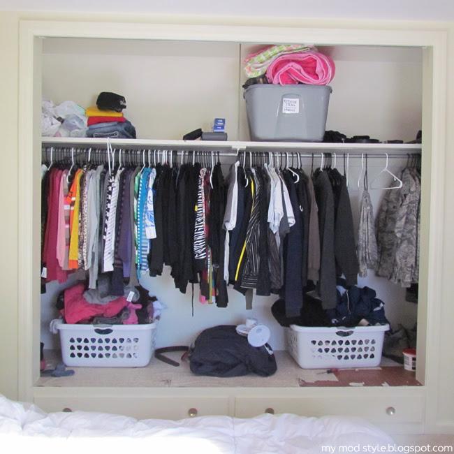 Our Bedroom closet no doors