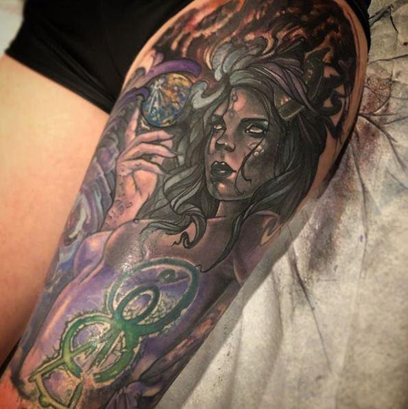 Dark Woman Portrait Leg Sleeve Tattoo By Al Perez Tattoos