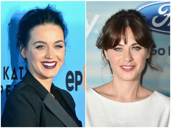 Katy Perry e Zooey Deschanel – A semelhança entre as duas já foi muito discutida pelá mídia. Zooey até chegou a dizer que não acha as duas parecidas, mas se sente honrada, pois acha Katy linda. (Foto: Getty Images)