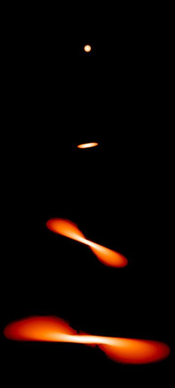 When a star encounters a black hole, tidal forces stretch the star into an elongated blob before tearing it apart, as seen in these images from a computer simulation by James Guillochon of Harvard University.