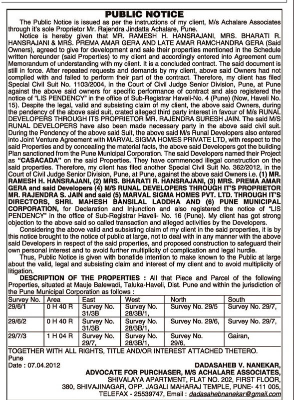Marvel Realtors' Cascada Balewadi 2 BHK 3 BHK 3.5 BHK 4 BHK Flats off Mumbai Bangalore Bypass opp Balewadi Stadium Pune 411 045 - Achalare Associates's Legal Notice