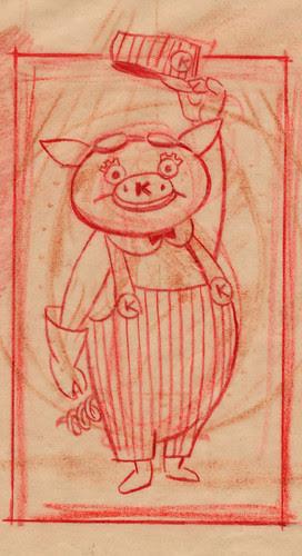 Disneyland Kaiser Aluminum Pig Sketch, 1955