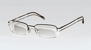 A modern pair of prescription glasses with a h...