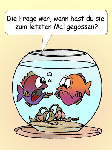 Cartoon: Blumen giessen (medium) by wista tagged blumen,giessen,fisch,fische,glas,aquarium,pflanzen,wasser,welk,blühen,wasserpflanzen,teich,garten,blüte,blüten