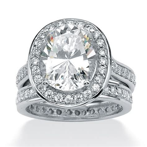 6.47 TCW Oval Cut Cubic Zirconia Platinum over Sterling