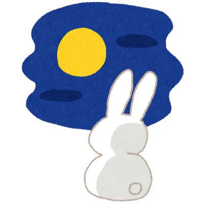 無料素材 お月様を見つめるウサギを描いた十五夜のイラスト哀愁の