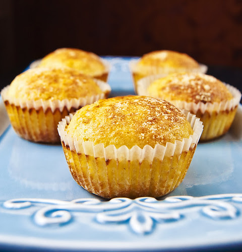 Roasted corn muffins with green chili and Parmesan crust