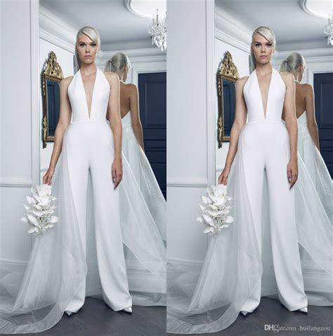 discount modest  size wedding dresses jumpsuit