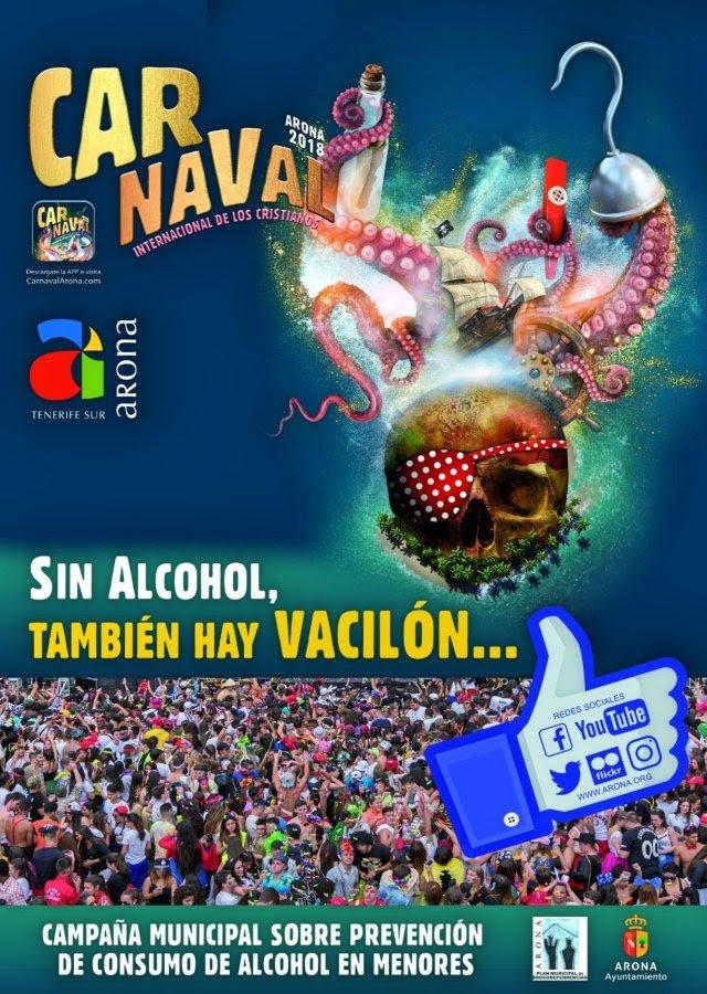 Resultado de imagen de Arona pone en marcha una campaña de prevención del consumo de alcohol entre menores para el Carnaval