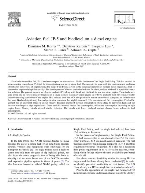 (PDF) Aviation fuel JP-5 and biodiesel on a diesel engine