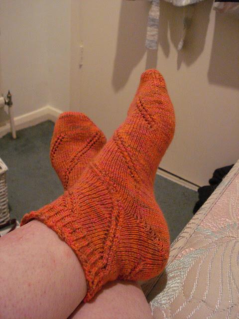 Magic Loop spiral eyelet toe up socks Anastasia