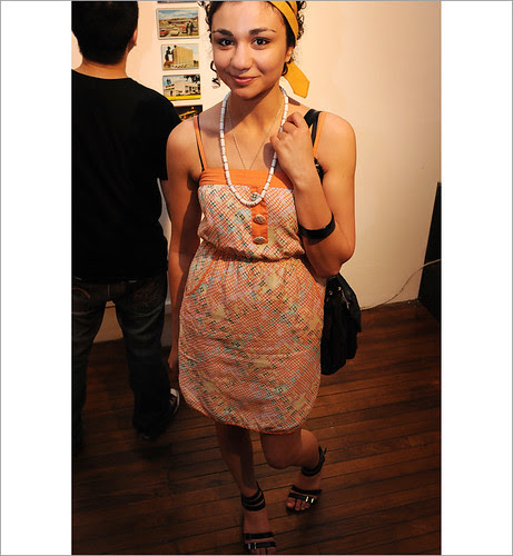 Street Fashion Sydney, Medium Rare Gallery, Orange print Sun Dress