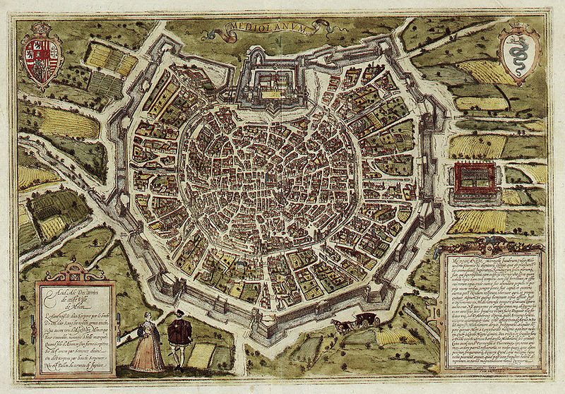maps of medieval cities Milan