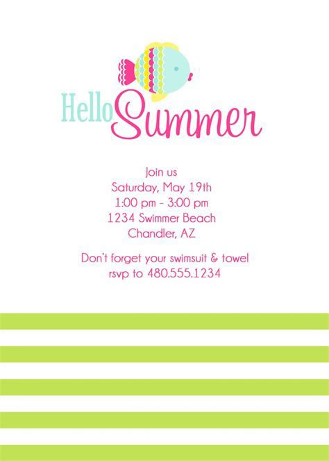 card template : Summer Party Invitations   Card Invitation