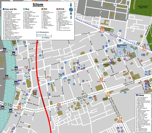 Silom Bangkok Location Map,Location Map of Silom Bangkok,Silom Bangkok Accommodation Destinations Attractions Hotels Map,silom avenue village inn hotel bangkok thai cooking school road nightlife